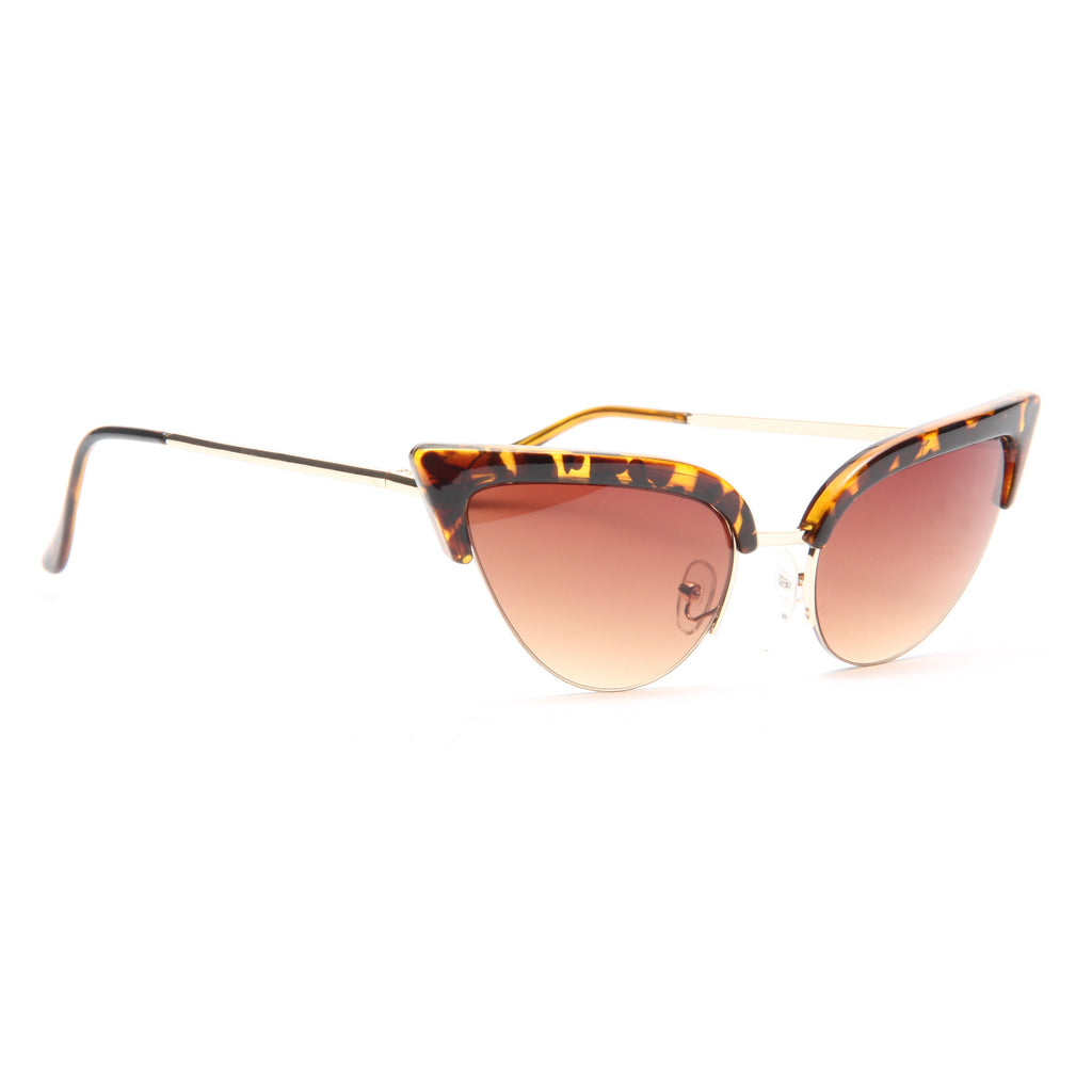 Tabby Thick Half Frame Cat Eye Sunglasses