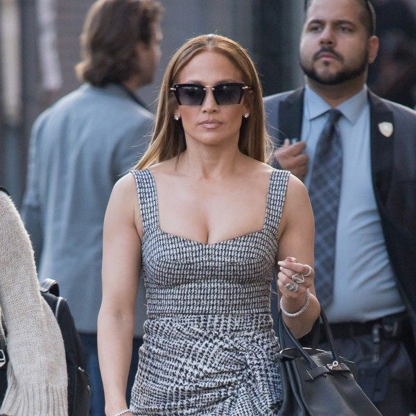Jennifer Lopez Style Half Frame Pointed Cat Eye Celebrity Sunglasses