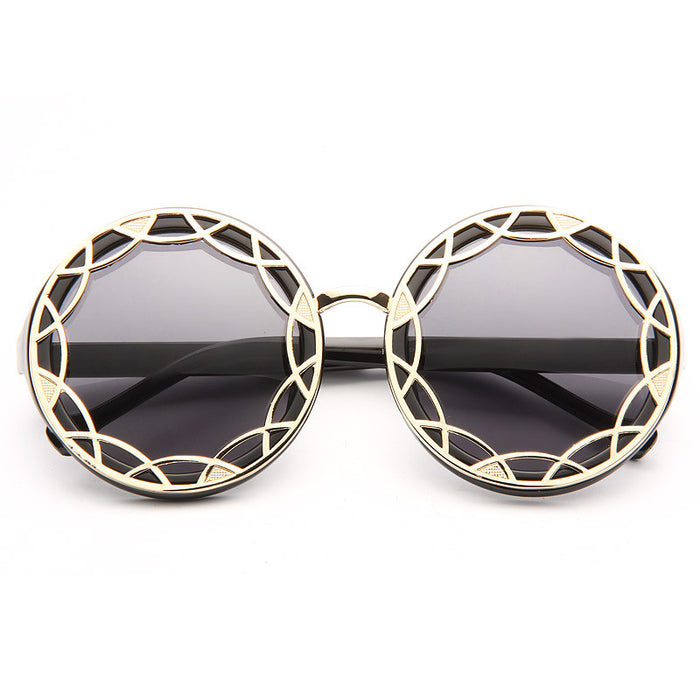 Calypso Oversized Hollow Out Lace Round Sunglasses