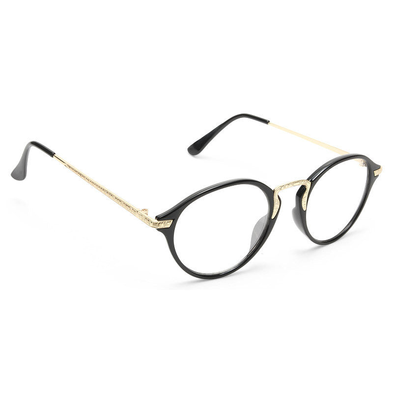 Simon Thin Round Metal Accent Clear Glasses