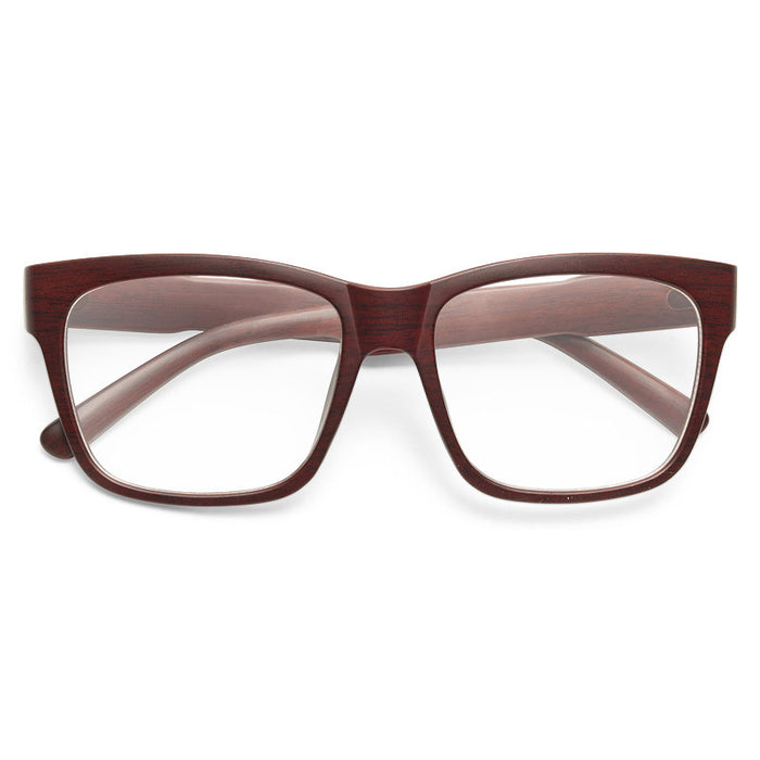 Harold Unisex Wood Grain Clear Horn Rimmed Glasses