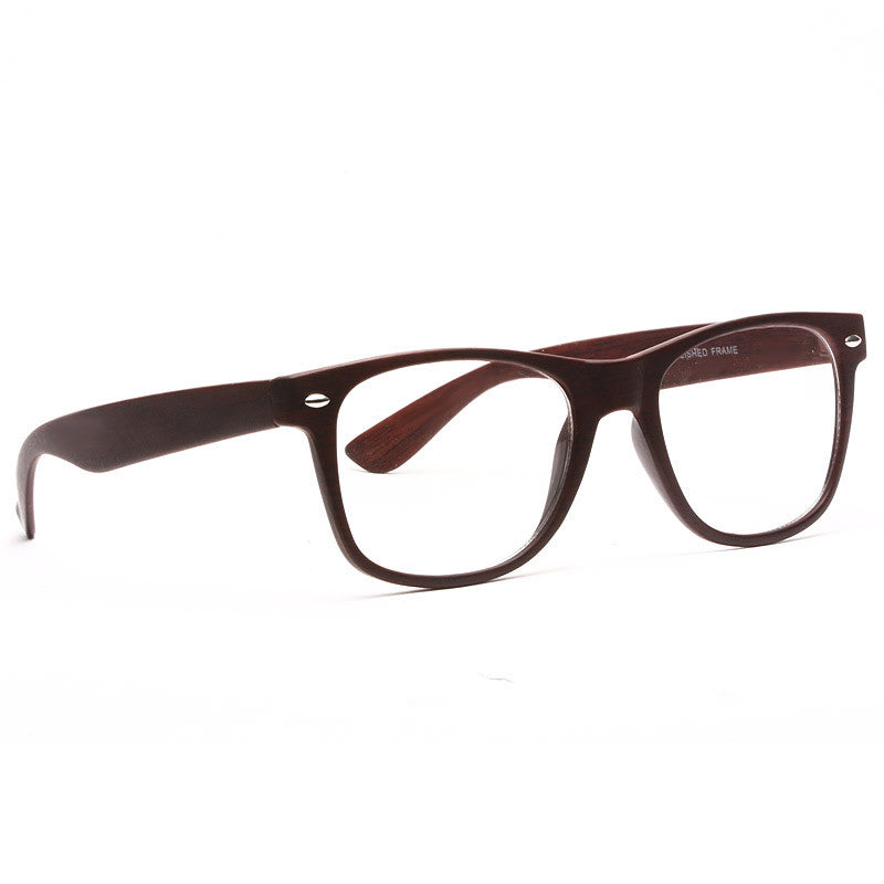 Jude Large Wood Grain Clear Horn Rimmed Glasses