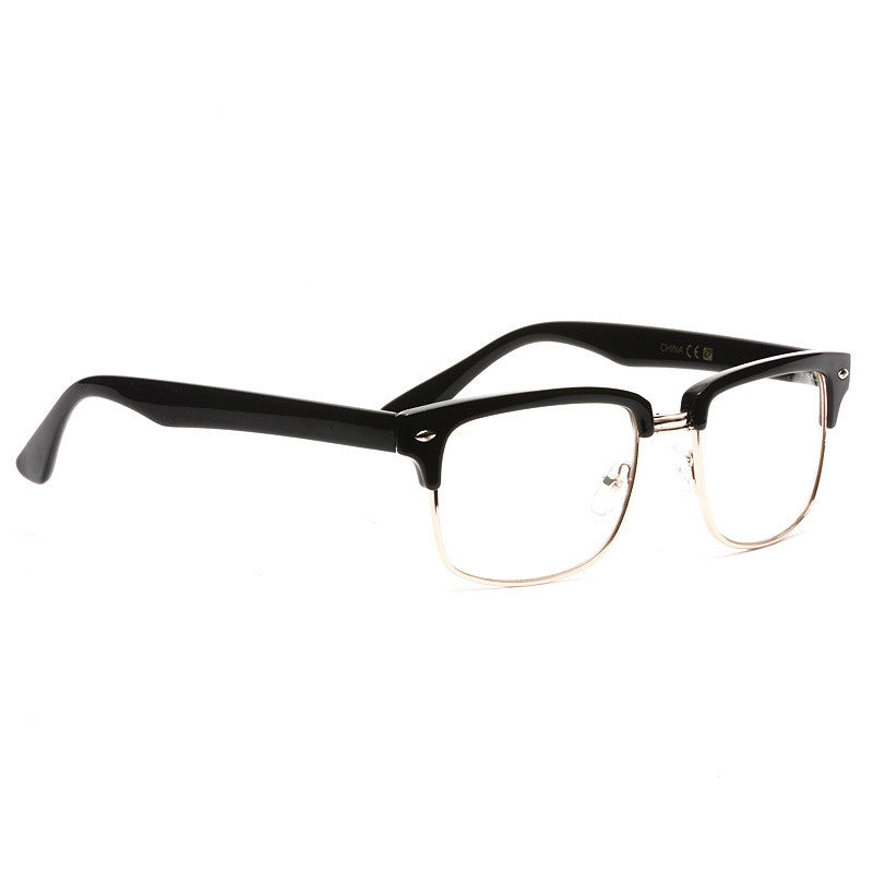 Asher Unisex Half-Frame Clear Glasses