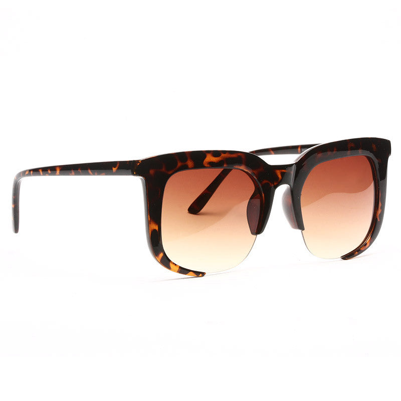 Evan Semi Rimless Horn Rimmed Sunglasses