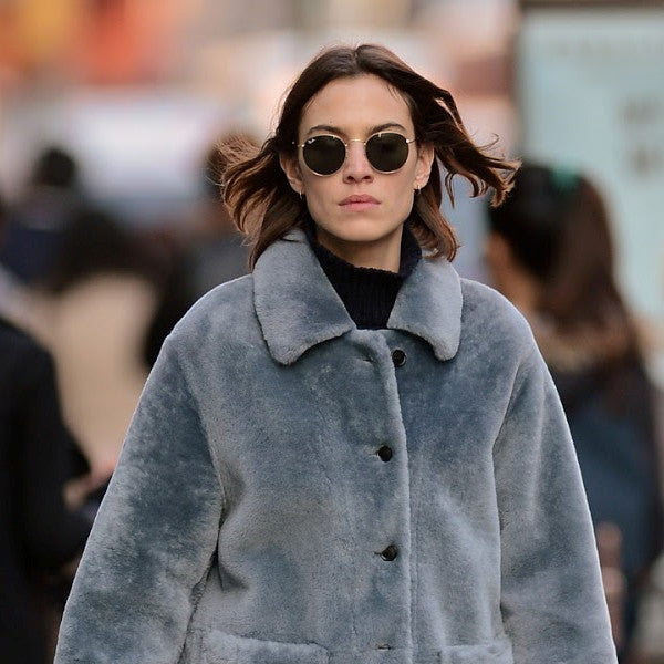 Alexa Chung Style Metal Rounded Celebrity Sunglasses