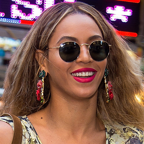 Beyonce Style Metal Rounded Celebrity Sunglasses