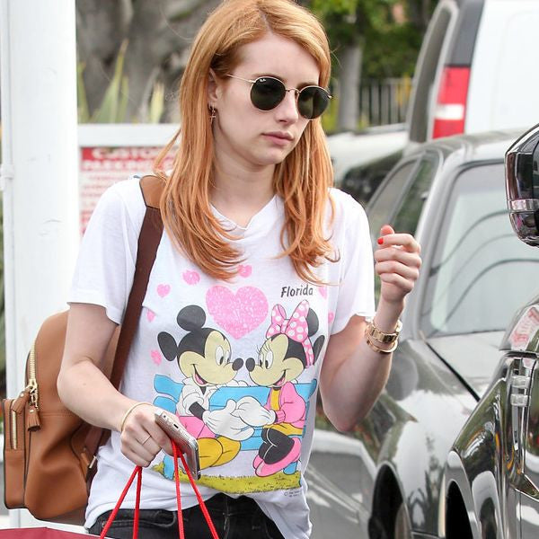 Emma Roberts Style Metal Rounded Sunglasses