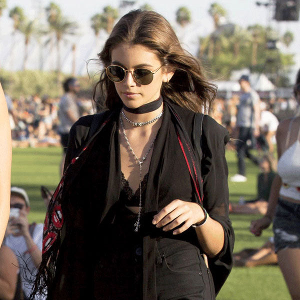 Kaia Gerber Style Round Metal Celebrity Sunglasses