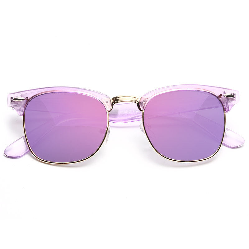 Peyton Colorful Color Mirror Half-Frame Sunglasses