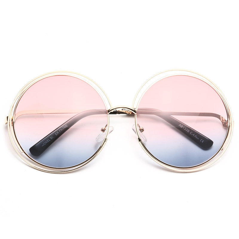 Carlina Designer Inspired Round Split Tint Sunglasses