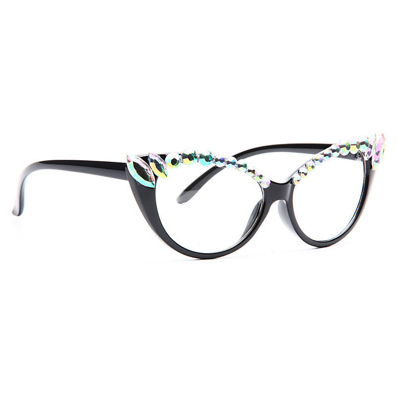 Jody Rhinestone Clear Cat Eye Glasses