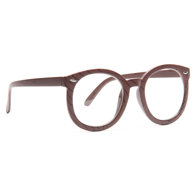 Super Duper Oversized Wood Grain Round Clear Glasses
