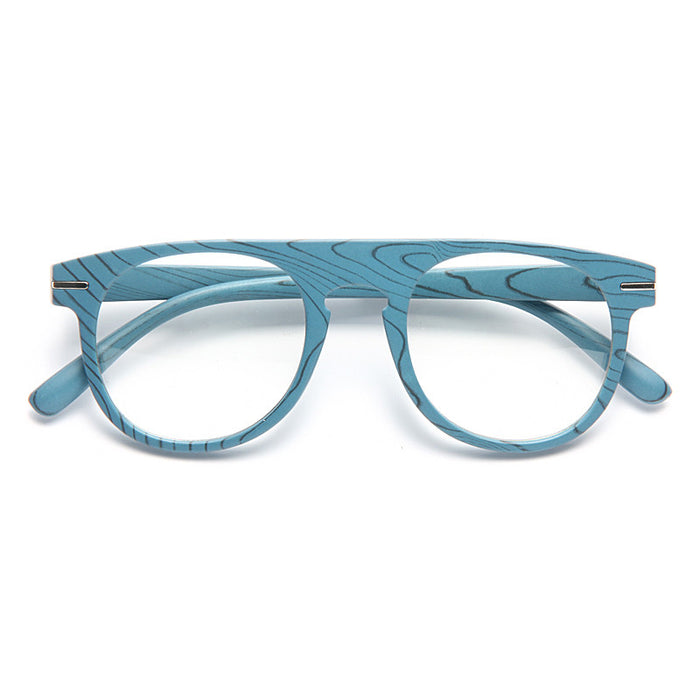 Abbott Thick Bridge Flat Top Wood Grain Clear Glasses