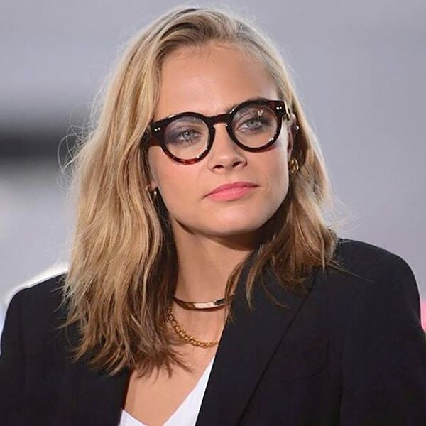 Cara Delevingne Style Thick Frame Round Celebrity Clear Glasses