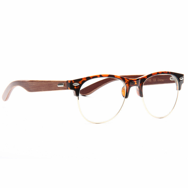 Balsa Unisex Wood Arm Half-Frame Clear Glasses