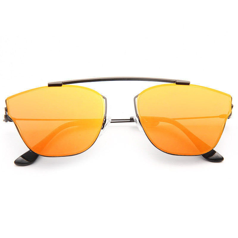 Homme Designer Inspired Flat Lens Color Mirror Sunglasses
