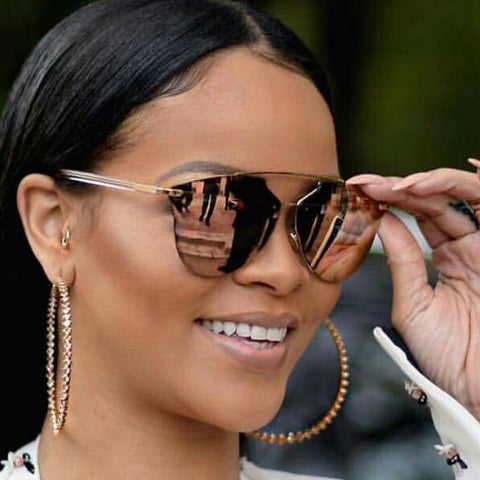 fceddf765e Rihanna Style Flat Lens Color Mirror Celebrity Sunglasses