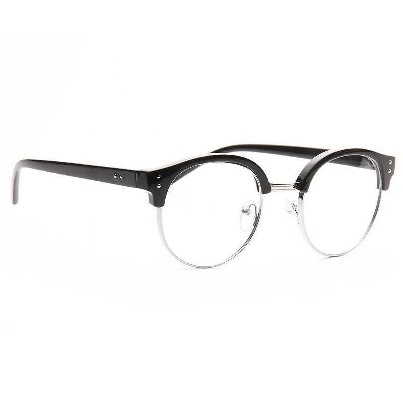 Concord Unisex Round Metal Clear Half-Frame Glasses
