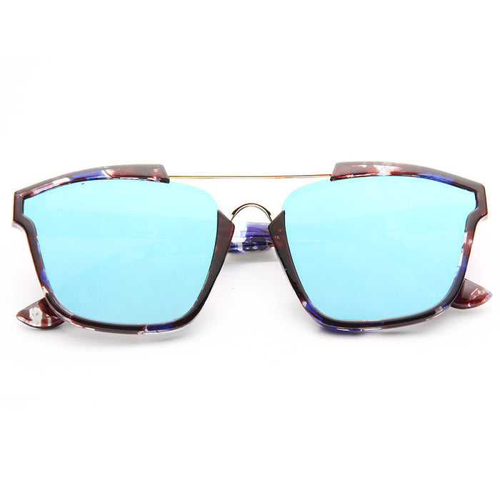 Abstract Designer Inspired Flat Lens Color Mirror Sunglasses