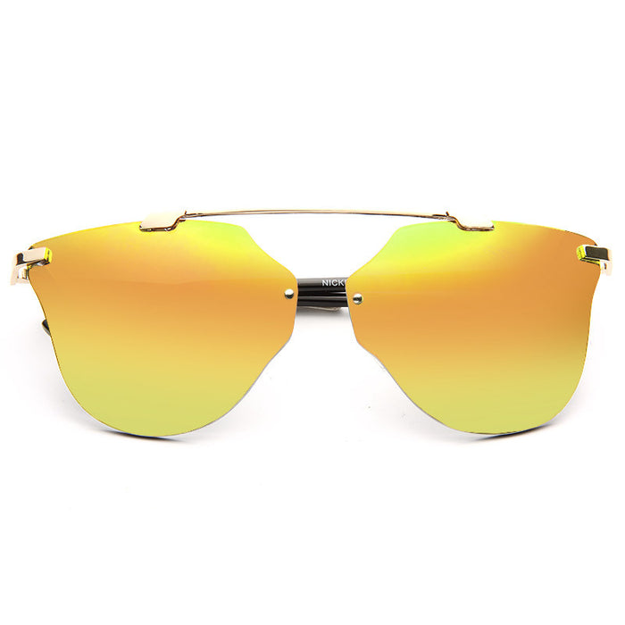 Norwich Oversized Rimless Color Mirror Horn Rimmed Sunglasses