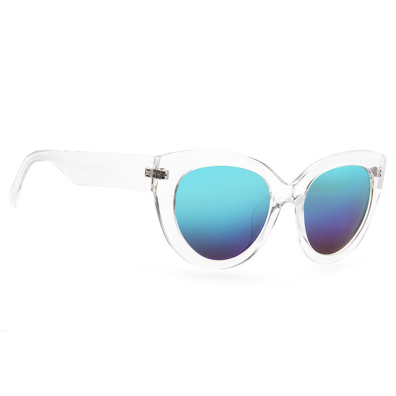 Crystal Oversized Color Mirror Cat Eye Clear Frame Sunglasses