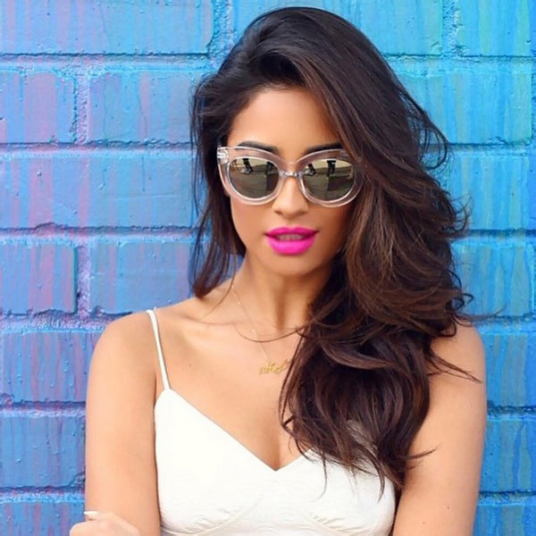 Shay Mitchell Style Oversized Color Mirror Cat Eye Celebrity Sunglasses