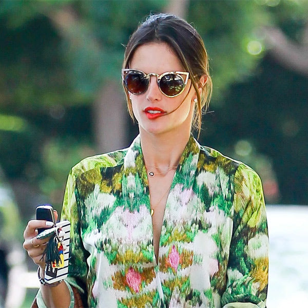 Alessandra Ambrosio Style Metal Cat Eye Celebrity Sunglasses