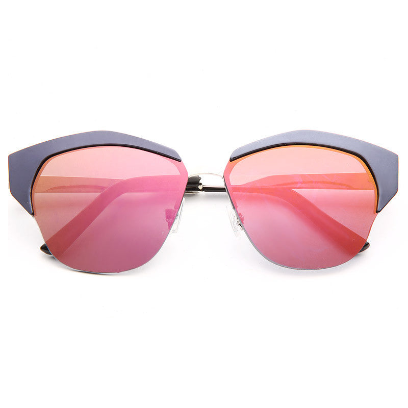 Mirrors Designer Inspired Metal Cat Eye Sunglasses