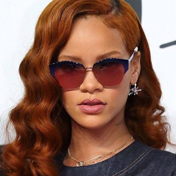 Rihanna Style Metal Cat Eye Celebrity Sunglasses