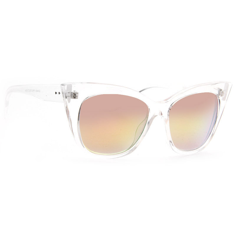 Rayne Color Mirror Sharp Cat Eye Clear Frame Sunglasses