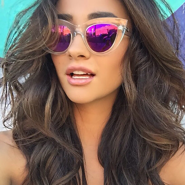 Shay Mitchell Style Color Mirror Sharp Cat Eye Celebrity Sunglasses
