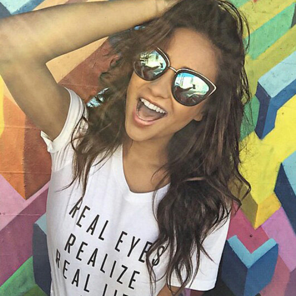 Shay Mitchell Style Color Mirror Cat Eye Celebrity Sunglasses