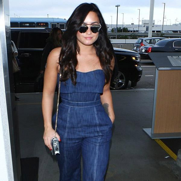 Demi Lovato Style Thin Bar Flat Top Sunglasses
