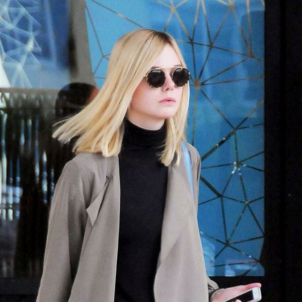 Elle Fanning Style Vintage Round Flat Top Sunglasses