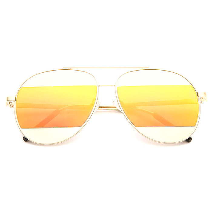 Split Designer Inspired Color Mirror Aviator Sunglasses