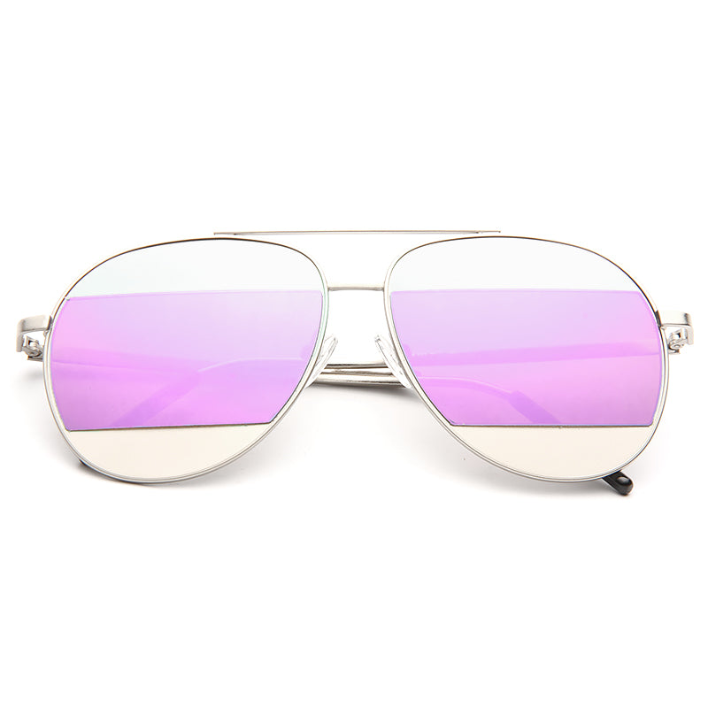 Elle Fanning Style Color Mirror Aviator Sunglasses