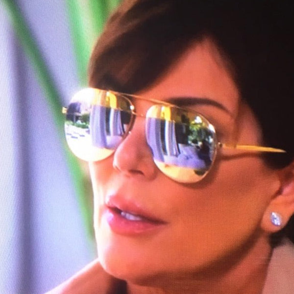 Kris Jenner Style Color Mirror Aviator Sunglasses