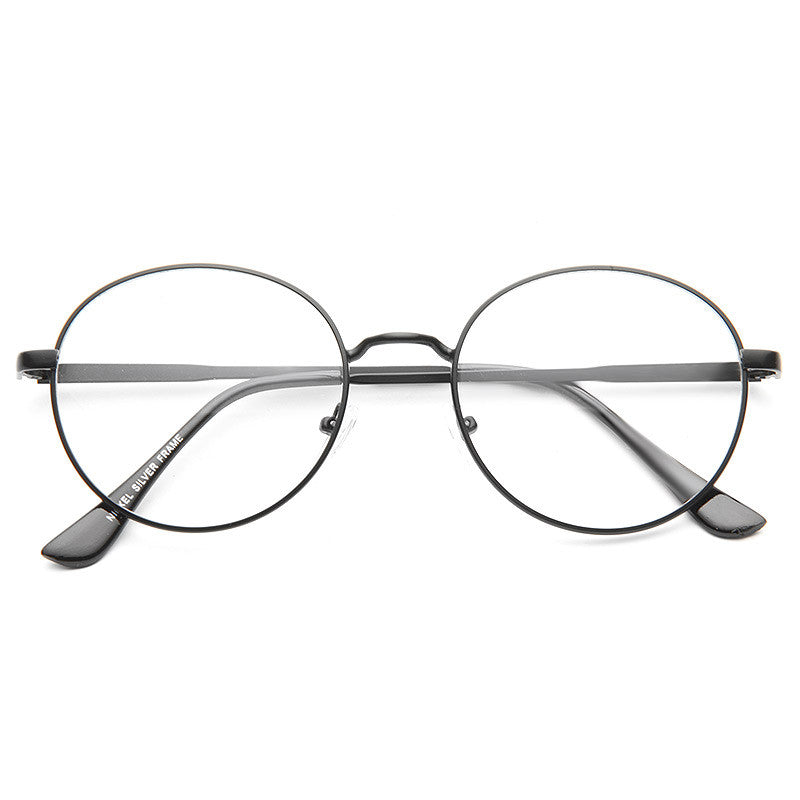 Jewett Unisex Round Metal Clear Glasses