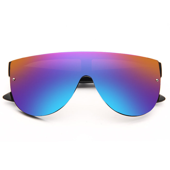 Pelzer Oversized Color Mirror Flat Top Shield Sunglasses