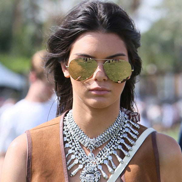 Kendall Jenner Style Color Mirror Aviator Sunglasses