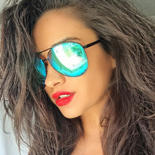 Shay Mitchell Style Color Mirror Aviator Sunglasses