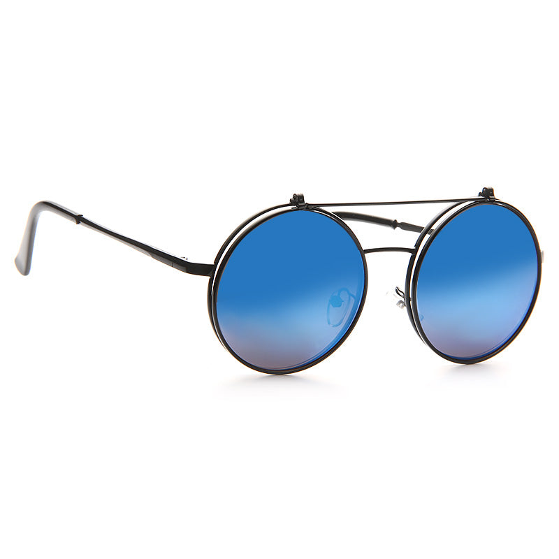 Cara Delevingne Style Color Mirror Round Flip Up Metal Celebrity Sunglasses