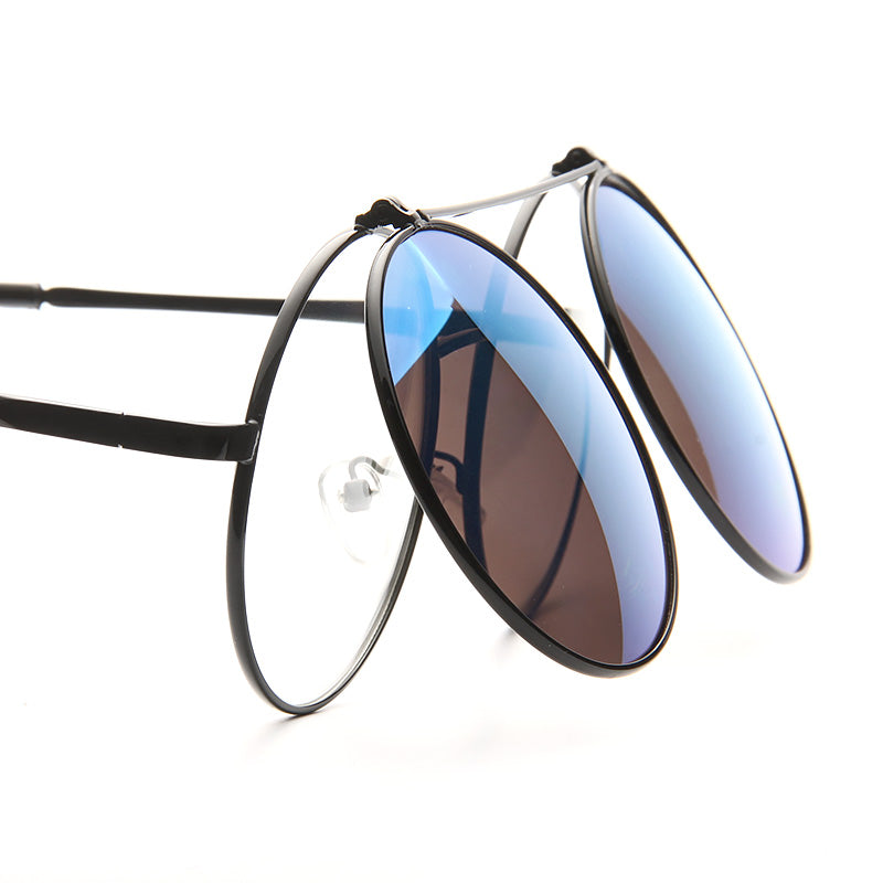 Fife Color Mirror Round Flip Up Metal Sunglasses
