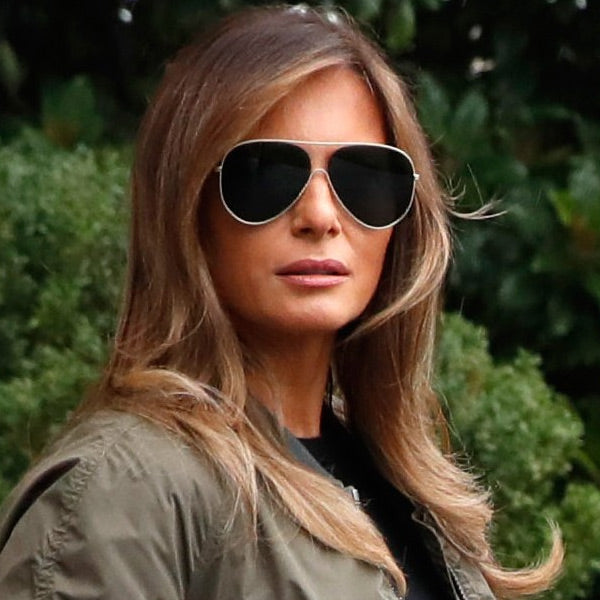 Melania Trump Style Flat Lens Color Mirror Aviator Celebrity Sunglasses