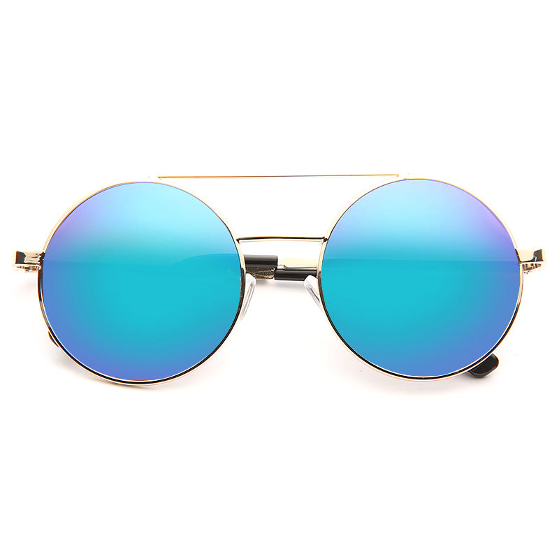 Rosa Color Mirror Round Metal Sunglasses