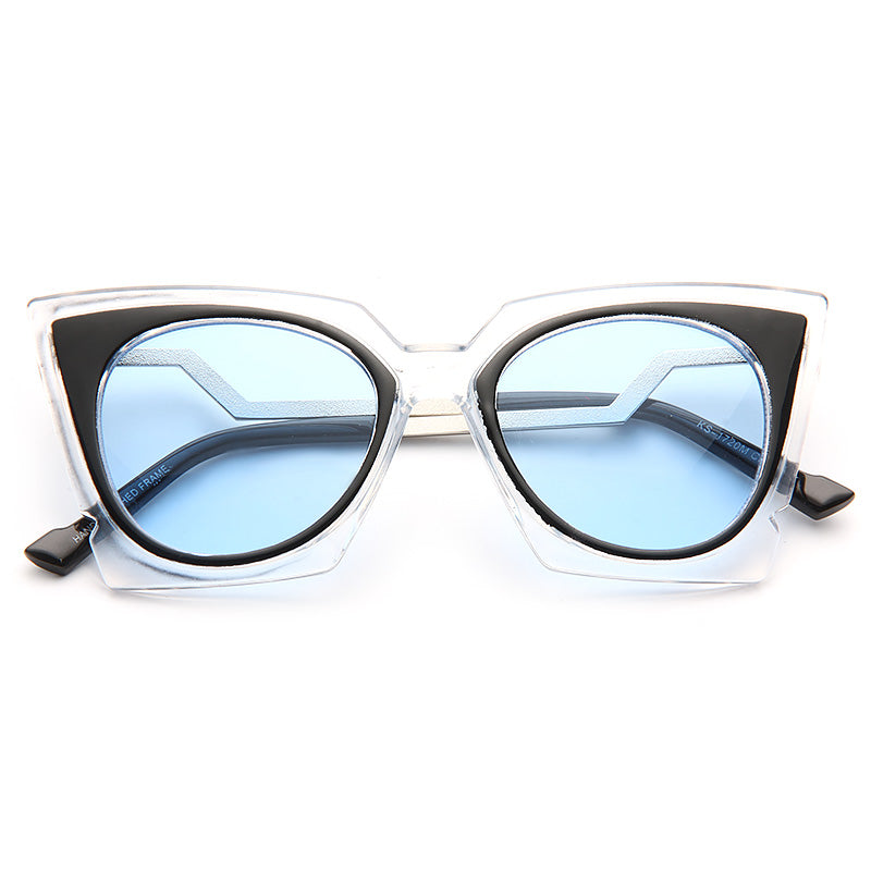Orchidea Pointed Cat Eye Clear Frame Sunglasses