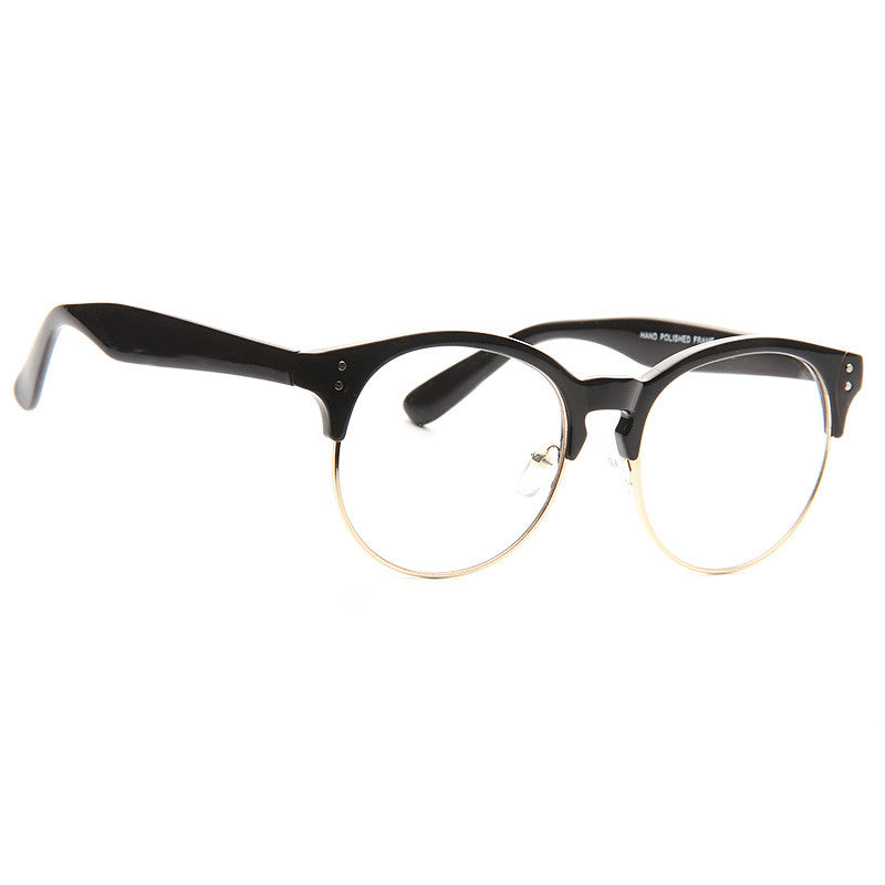 Zion Unisex Round Metal Clear Half Frame Glasses