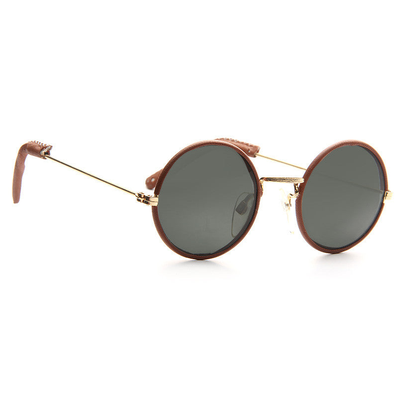 Lennon 2 Vintage Round Leather Wrapped Sunglasses