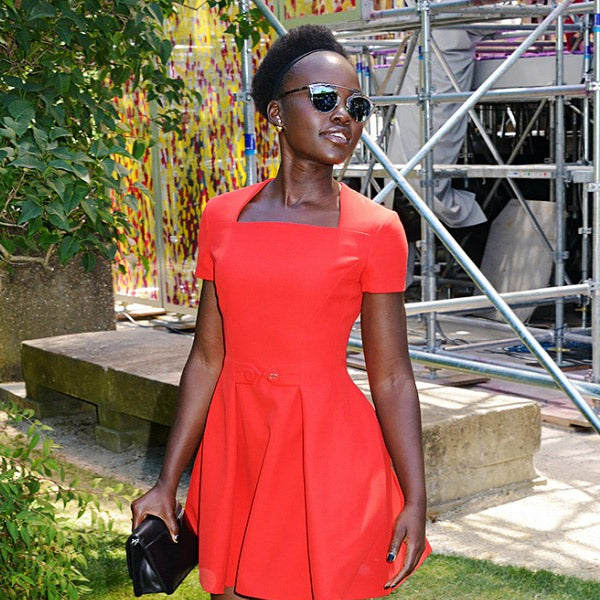 Lupita Nyong'o Style Thin Bar Color Mirror Flat Top Celebrity Sunglasses
