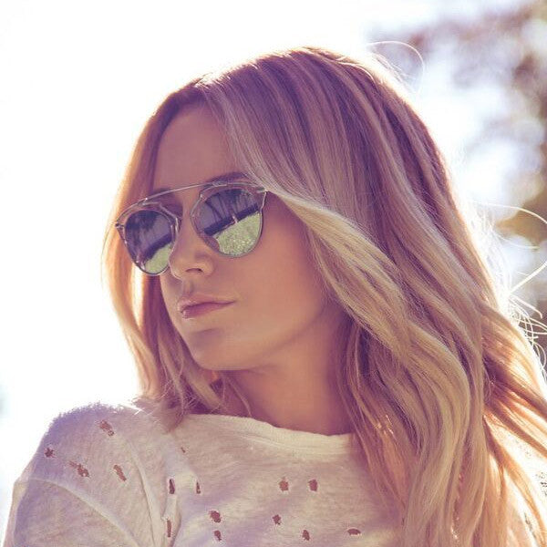 Ashley Tisdale Style Thin Bar Color Mirror Flat Top Celebrity Sunglasses